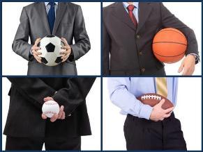 hombre negocios con balones, unisport